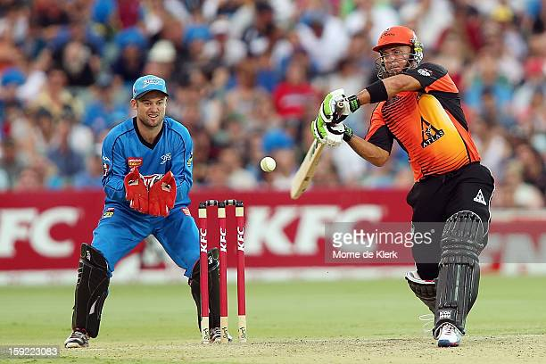 Herschelle Gibbs of Perth bats during the Big Bash League match between the Adelaide Strikers and the Perth Scorchers at Adelaide Oval on January 10...