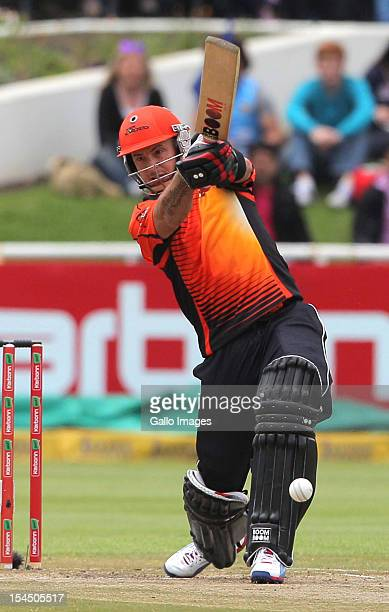 Herschelle Gibbs of Perth Scorchers in action during the Champions league twenty20 match between Perth Scorchers and Delhi Daredevils at Sahara Park...