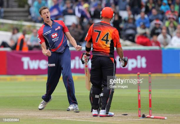 Herschelle Gibbs of Perth Scorchers is bowled by Morne Morkel of the Delhi Daredevils during the Champions league twenty20 match between Perth...