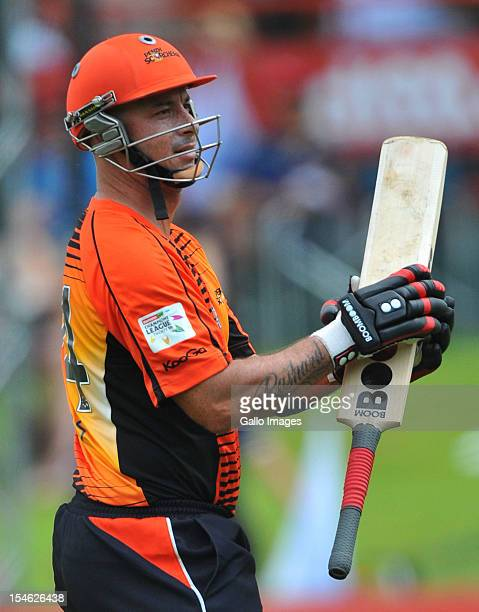 Herschelle Gibbs of Perth walks off after being dismissed for 6 runs during the Karbonn Smart CLT20 match between Auckland Aces and Perth Scorchers...