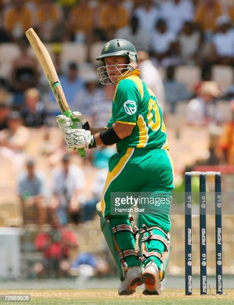 Herschelle Gibbs of South Africa hits out during the ICC Cricket World Cup Semi Final match between Australia and South Africa at the Beausejour...