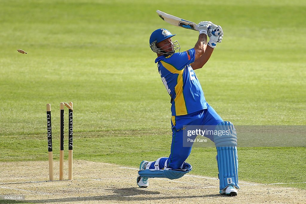 Herschelle Gibbs of the Legends is bowled by Matt Dixon of the Scorchers during the WA Festival of Cricket Legends Match between the Australian Legends XI and Perth Scorchers at Aquinas College on December 11, 2015 in Perth, Australia.