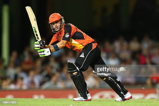 Herschelle Gibbs of the Scorchers bats during the Big Bash League match between the Sydney Sixers and the Perth Scorchers at SCG on December 16 2012...