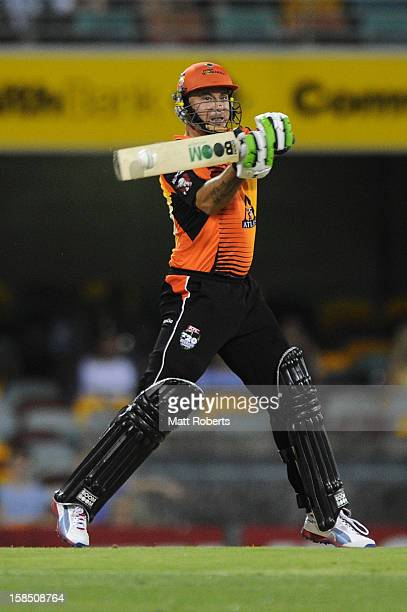 Herschelle Gibbs of the Scorchers bats during the Big Bash League match between the Brisbane Heat and the Perth Scorchers at The Gabba on December 18...