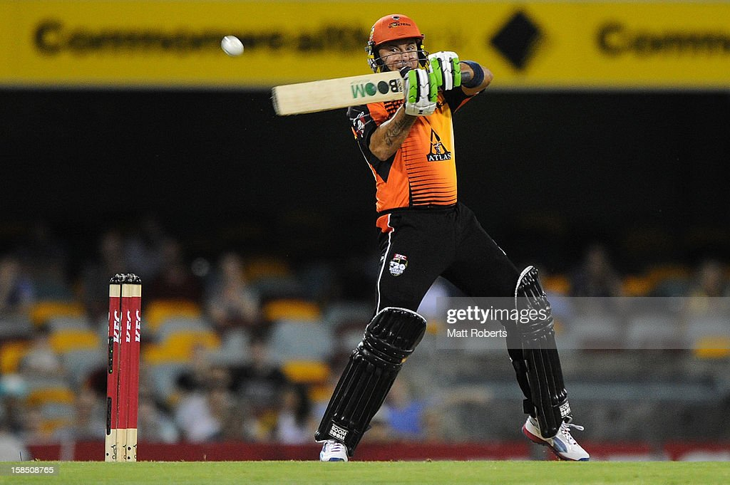 <a gi-track='captionPersonalityLinkClicked' href=/galleries/search?phrase=Herschelle+Gibbs&family=editorial&specificpeople=193820 ng-click='$event.stopPropagation()'>Herschelle Gibbs</a> of the Scorchers bats during the Big Bash League match between the Brisbane Heat and the Perth Scorchers at The Gabba on December 18, 2012 in Brisbane, Australia.