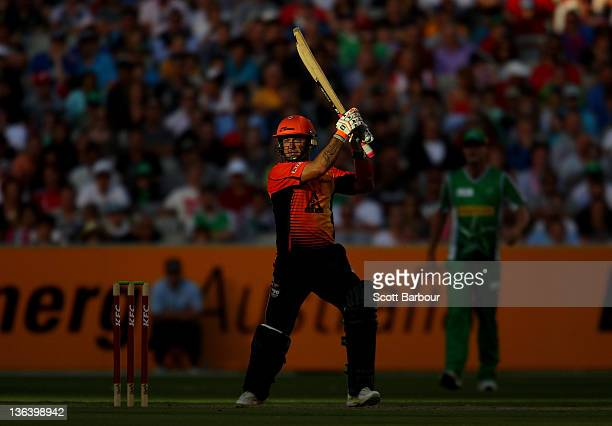 Herschelle Gibbs of the Scorchers bats during the T20 Big Bash League match between the Melbourne Stars and the Perth Scorchers at the Melbourne...