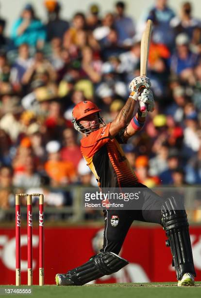 Herschelle Gibbs of the Scorchers bats during the T20 Big Bash League Semi Final match between the Perth Scorchers and the Melbourne Stars at the...