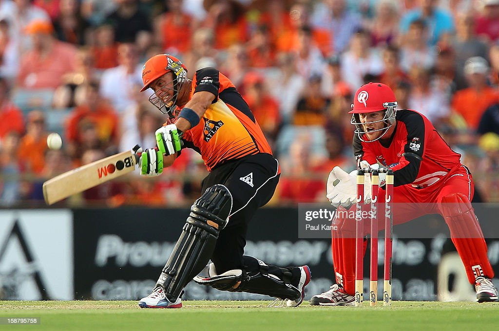 <a gi-track='captionPersonalityLinkClicked' href=/galleries/search?phrase=Herschelle+Gibbs&family=editorial&specificpeople=193820 ng-click='$event.stopPropagation()'>Herschelle Gibbs</a> of the Scorchers hits a boundary during the Big Bash League match between the Perth Scorchers and the Melbourne Renegades at WACA on December 29, 2012 in Perth, Australia.