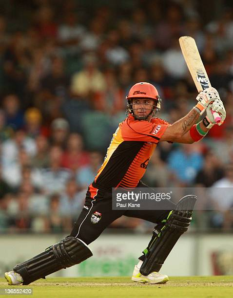 Herschelle Gibbs of the Scorchers hits out during the T20 Big Bash League match between the Perth Scorchers and the Adelaide Strikers at WACA on...