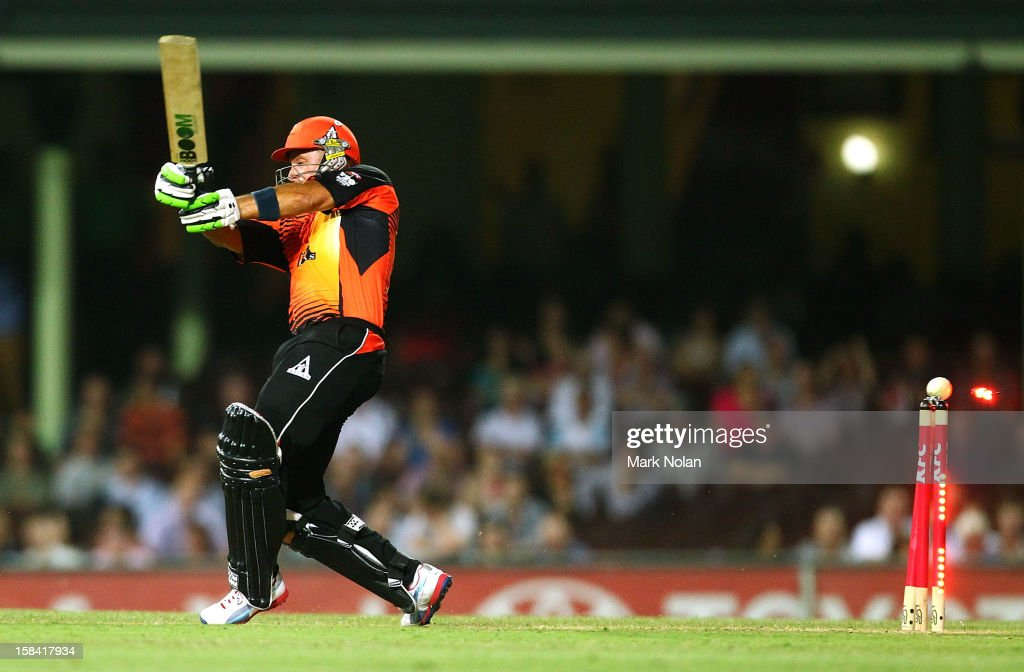 <a gi-track='captionPersonalityLinkClicked' href=/galleries/search?phrase=Herschelle+Gibbs&family=editorial&specificpeople=193820 ng-click='$event.stopPropagation()'>Herschelle Gibbs</a> of the Scorchers is bowled during the Big Bash League match between the Sydney Sixers and the Perth Scorchers at SCG on December 16, 2012 in Sydney, Australia.