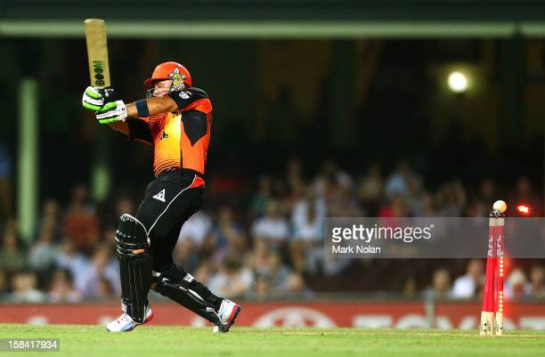 Herschelle Gibbs of the Scorchers is bowled during the Big Bash League match between the Sydney Sixers and the Perth Scorchers at SCG on December 16...