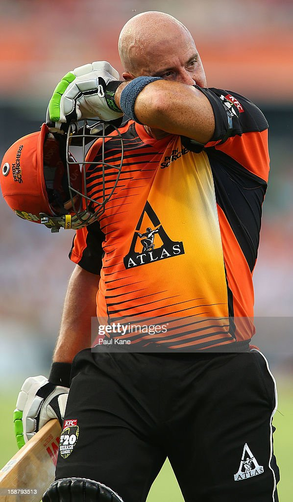 <a gi-track='captionPersonalityLinkClicked' href=/galleries/search?phrase=Herschelle+Gibbs&family=editorial&specificpeople=193820 ng-click='$event.stopPropagation()'>Herschelle Gibbs</a> of the Scorchers walks from the field after being dismissed for 56 during the Big Bash League match between the Perth Scorchers and the Melbourne Renegads at WACA on December 29, 2012 in Perth, Australia.