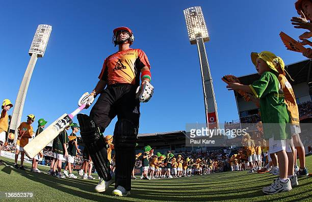 Herschelle Gibbs of the Scorchers walks onto the ground during the T20 Big Bash League match between the Perth Scorchers and the Adelaide Strikers at...