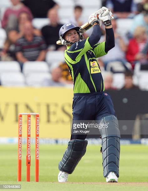 Herschelle Gibbs of Yorkshire hits out during the Friends Provident T20 match between Nottinghamshire and Yorkshire at Trent Bridge on July 17 2010...