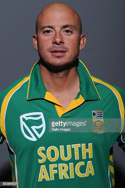 Herschelle Gibbs poses during the South African One Day International team portait session at Grayston Southern Sun on October 20 2008 in...