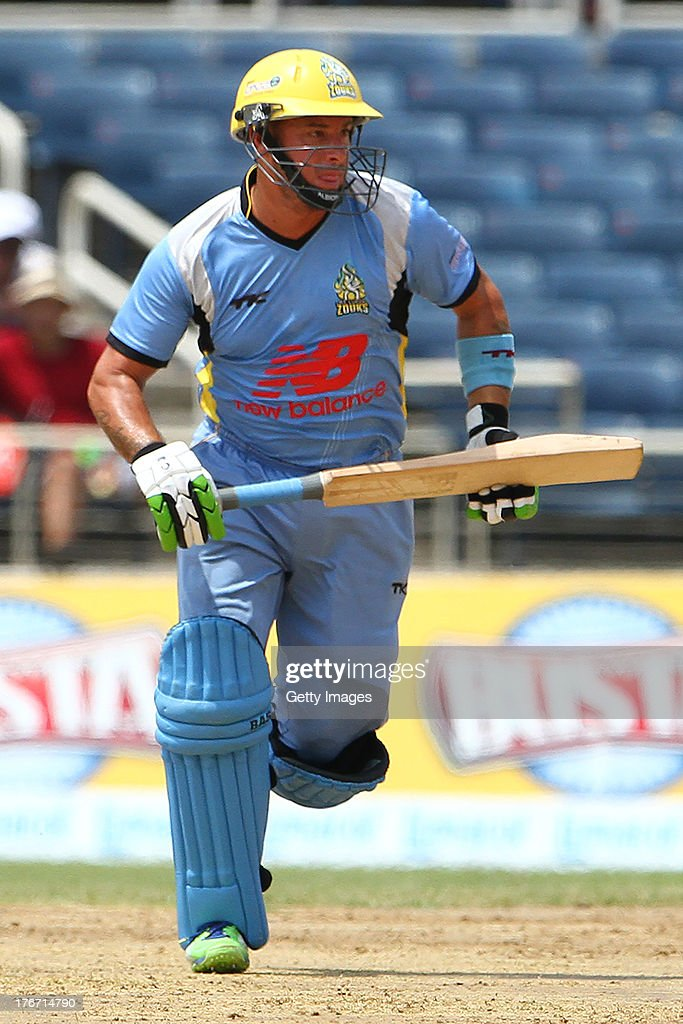 Herschelle Gibbs runs between the wickets during the Eighteenth Match of the Cricket Caribbean Premier League between St. Lucia Zouks v Trinidad and Tobago Red Steel at Sabina Park on August 17, 2013 in Kingston, Jamaica.
