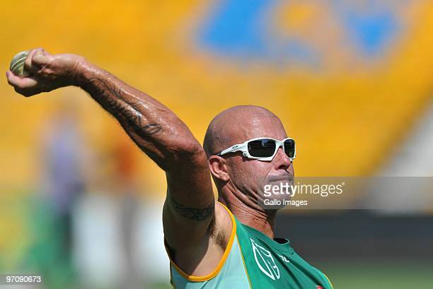 Herschelle Gibbs throws during the South African cricket team practice session at Sardar Patel Stadium on February 26 2010 in Ahmedabad India