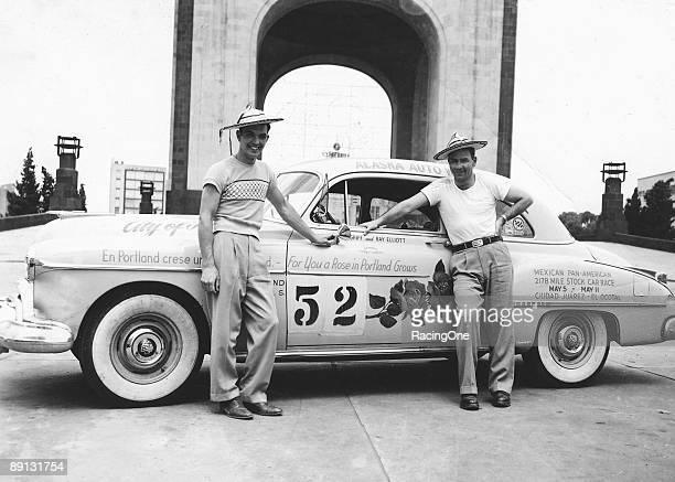 Hershel McGriff with his copilot Ray Elliott during the first annual Mexican Road Race along the Pan American Highway They won the grueling event