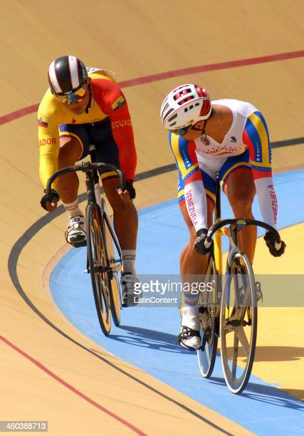 Hersony Canelon of Venezuela and Jamil Intrigo of Ecuador compete in a hit of Speed as part of the XVII Bolivarian Games Trujillo 2013 at Colegio San...