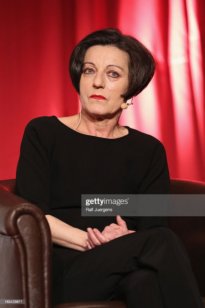 Herta Mueller reads from her book 'Vater telefoniert mit den Fliegen' during the lit. Cologne at `Wolkenburg`on March 9, 2013 in Cologne, Germany.