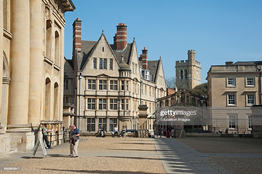 Hertford College Bridge of Sighs Oxford University seen from Clarendon Building Oxford England UK