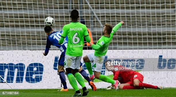Hertha Berlin's Bosnian forward Vedad Ibisevic scores during the German First division Bundesliga football match between Hertha Berlin and VfL...