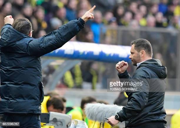 Hertha Berlin's Hungarian head coach Pal Dardai reacts after the German First division Bundesliga football match of Hertha Berlin vs Borussia...