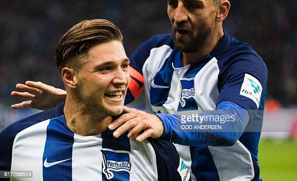 Hertha Berlin's midfielder Niklas Stark celebrates scoring his side's 2nd goal during the German first division Bundesliga football match between...
