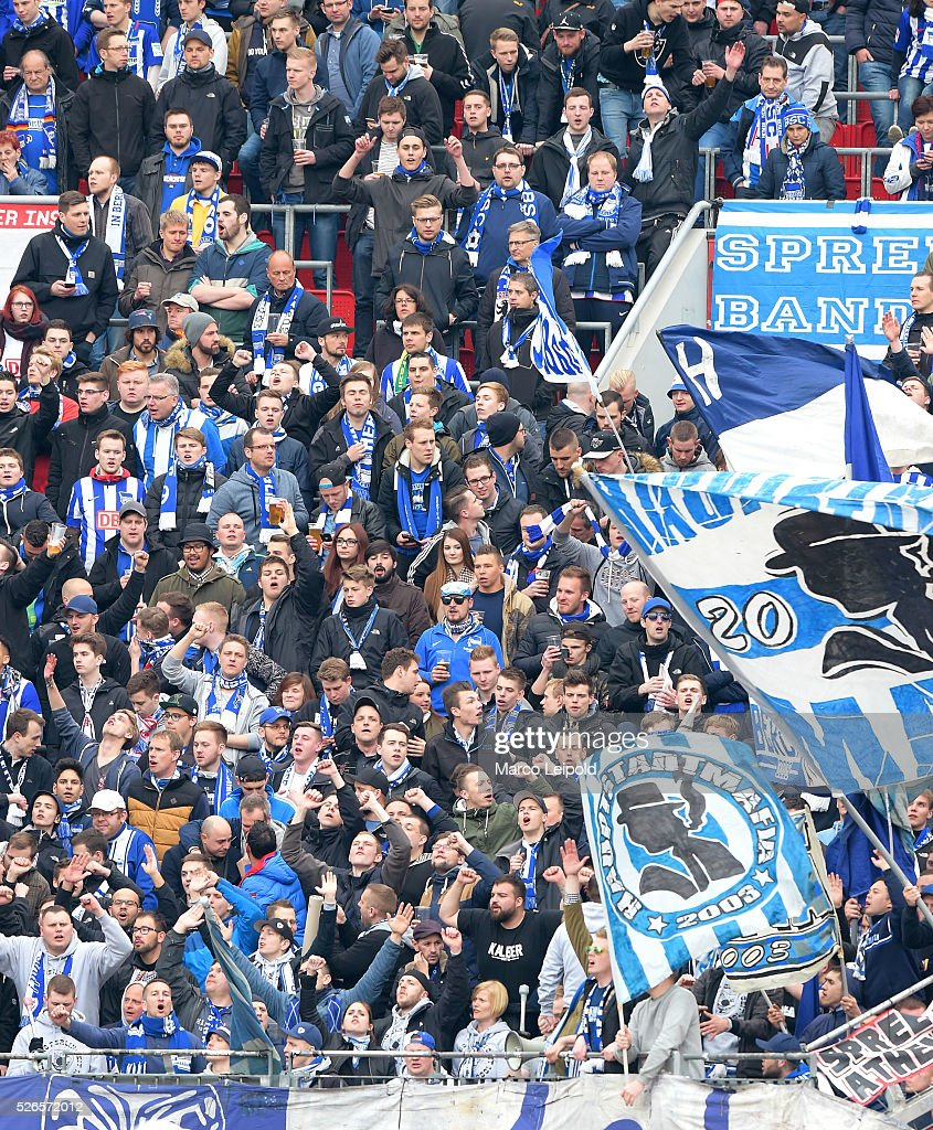 Hertha BSC fans before the game between Bayer 04 Leverkusen and Hertha BSC on april 30, 2016 in Leverkusen, Germany.