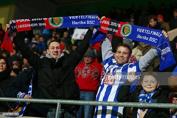 Hertha enjoy the pre match atmosphere during the DFB Cup quarter final match between 1 FC Heidenheim and Hertha BSC at VoithArena on February 10 2016...