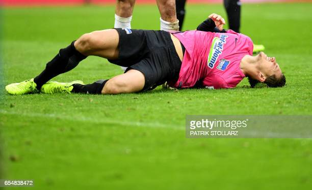 Hertha's defender Niklas Stark reacts during the German first division Bundesliga football match of 1FC Cologne vs Hertha BSC Berlin in Cologne...