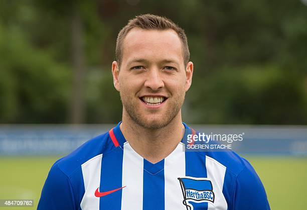 Hertha's forward Julian Schieber poses during the team presentation of German first division Bundesliga football club Hertha BSC Berlin on July 10 in...