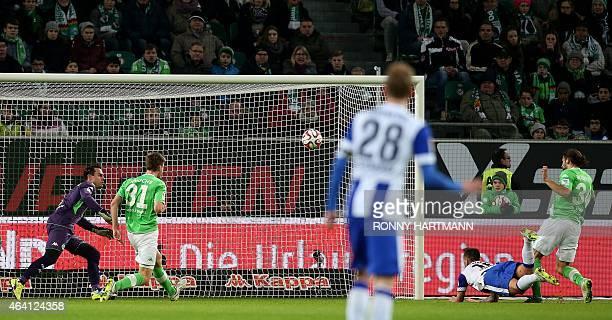 Hertha's forward Julian Schieber scores during the German first division Bundesliga football match VfL Wolfsburg vs Hertha BSC in Wolfsburg on...