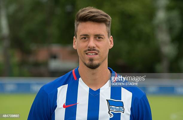 Hertha's forward Sandro Wagner poses during the team presentation of German first division Bundesliga football club Hertha BSC Berlin on July 10 in...