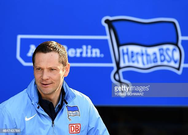 Hertha's Hungarian head coach Pal Dardai arrives for the German first division Bundesliga football match Hertha BSC Berlin vs FC Augsburg in Berlin...