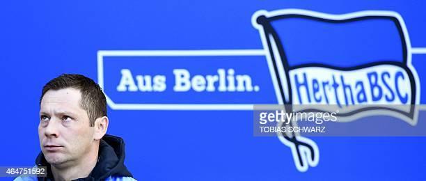Hertha's Hungarian head coach Pal Dardai arrives for the German first division Bundesliga football match Hertha BSC Berlin vs FC Augsburg in Berlin...