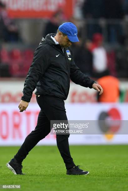 Hertha's Hungarian head coach Pal Dardai reacts after the first division Bundesliga football match of 1FC Cologne vs Hertha BSC Berlin in Cologne...