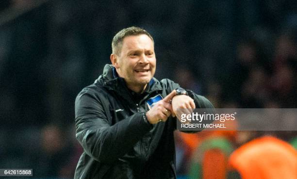 Hertha´s Hungarian head coach Pal Dardai reacts during the German first division Bundesliga football match between Hertha BSC Berlin and FC Bayern...