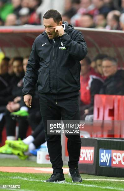 Hertha's Hungarian head coach Pal Dardai reacts during the German First division Bundesliga football match of FC Cologne vs Hertha Berlin in Cologne...