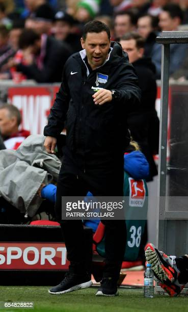 Hertha's Hungarian head coach Pal Dardai reacts during the German first division Bundesliga football match of 1FC Cologne vs Hertha BSC Berlin in...