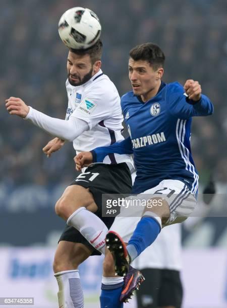 Hertha's Marvin Plattenhardt and Schalke's Alessandro Schoepf fight during the Bundesliga match FC Schalke 04 vs Hertha BSC Berlin in Gelsenkirchen...