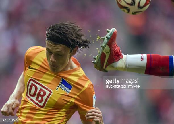 Hertha's midfielder Nico Schulz is pictured during the German first division Bundesliga football match between FC Bayern Munich and Hertha BSC Berlin...