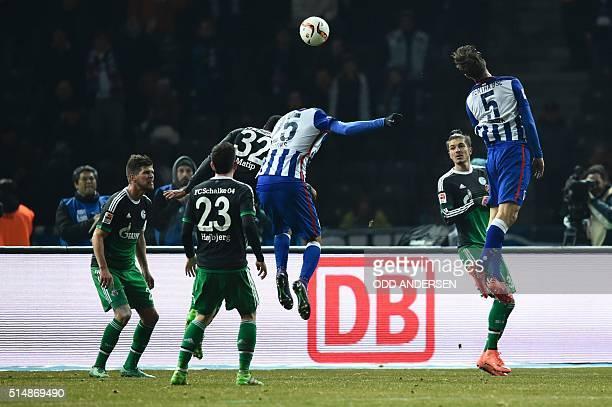 Hertha's midfielder Niklas Stark scores the 20 goal during the German first division Bundesliga football match Hertha Berlin v Schalke 04 at the...
