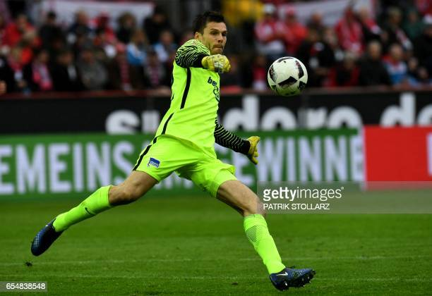 Hertha's Norwegian goalkeeper Rune Jarstein plays the ball during the German first division Bundesliga football match of 1FC Cologne vs Hertha BSC...