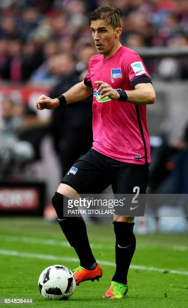 Hertha's Slovakian defender Peter Pekarik plays the ball during the German first division Bundesliga football match of 1FC Cologne vs Hertha BSC...