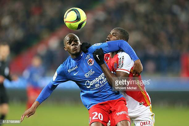 Herve Basile of Caen and Echiejile Elderson of Monaco during the French Ligue 1 match between SM Caen v AS Monaco at Stade Michel D'Ornano on March 4...