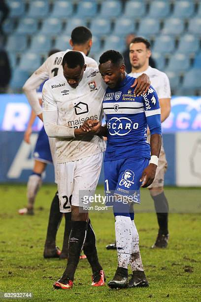 Herve Bazile of Caen and Lenny Nangis of Bastia during the French Ligue 1 match between Bastian and Caen at Stade Armand Cesari on January 28 2017 in...