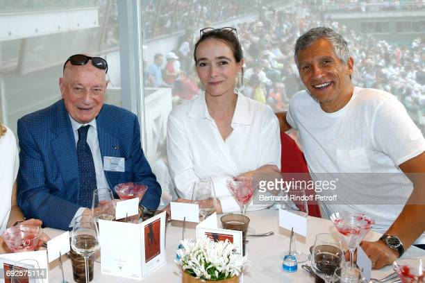 Herve Bourges President of France Television Delphine Ernotte and Nagui attend the 'France Television' Lunch during the 2017 French Tennis Open Day...