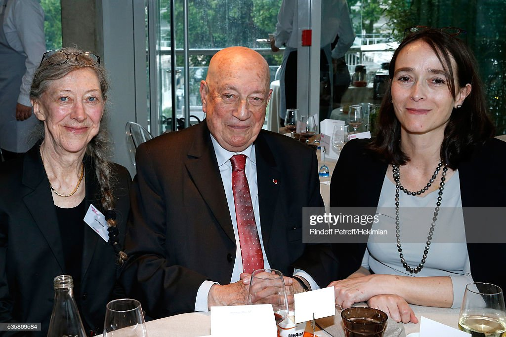 Herve Bourges sitting between his wife Marie (L) and President of France Television, Delphine Ernotte (R) during the 'France Television' Lunch during Day Nine of the 2016 French Tennis Open at Roland Garros on May 30, 2016 in Paris, France.