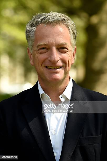 Herve Gaymard Les Republicains party candidate for the French legislative elections in the second electoral district of Savoie poses on April 12 2017...